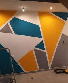 25 DIY Tape Mural Wall Art paint ideas Boston ma is one of the most ancient cities in the USA; Architecture and home. Bedroom Paint Design, Bedroom Wall Designs, Painting Designs On Walls, Room Paint Designs, Wall Art Designs, Tape Wall Art, Mural Wall Art, Simple Wall Paintings, Geometric Wall Paint