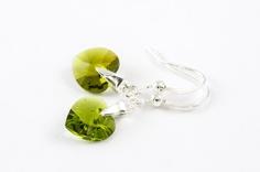 Beadwork Earrings Small Heart Valentine Olive Green Valentine Gift For Her