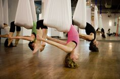 Aerial yoga class! I want to try this!