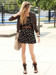 patterned dress with combat boots