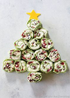 Cranberry Feta Pinwheel Tree - so easy and so festive!
