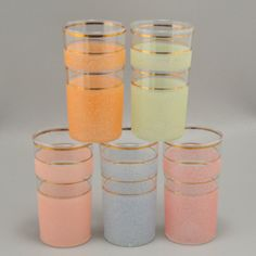 ON SALE Vintage Pastel Highball 5 Tumblers Orange by charmings