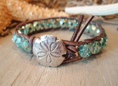 "Beachy leather wrap bracelet, ""SandDollar"", sky blue, sand dollar, ocean blue, distressed leather, beach surfer boho chic, on SALE"