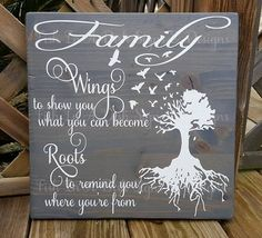 Family wings and roots, Stained wooden plaque, Painted wooden sign,Mother's Day, Housewarming Gift, Home Decor, Anniversary by FishInADishDesigns on Etsy