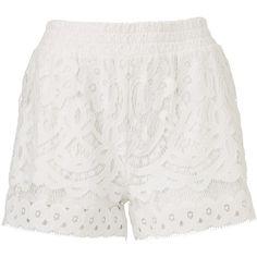 LACE SHORT (1,065 MXN) ❤ liked on Polyvore featuring shorts, white shorts, short shorts, elastic waistband shorts, lace shorts and lacy shorts