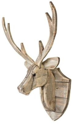 Recycled Wooden Deer Head Hanging Wall Décor - - Add this Recycled Wooden Deer Head Hanging Wall Décor to your home decor. Rustic in style, it is a fantastic addition to a cabin. Wood Deer Head, Deer Head Decor, Metal Walls, Metal Wall Art, Wood Art, Rustic Wood Walls, Wooden Wall Decor, Bois Diy, Wood Animal