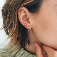 Meet @esteelalonde's new ear additions: Our Four Diamond Trinity Traditional Stud and new Scalloped Marquise Diamond traditional stud. La