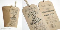 Vintage Tag Wedding Invitation Gift Tag Luggage by STNstationery