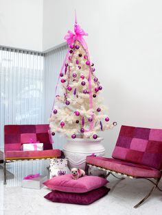 White christmas tree with pink