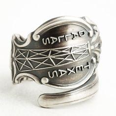 Dallas Ring, Sterling Silver Spoon Ring, Texas Star, Texas Love, Texas Bull, Oil Rig, Handmade Jewelry, Eco Friendly Custom Ring Size (6406) by Spoonier on Etsy