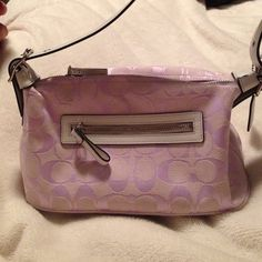 Coach purse Small Lilac with white leather coach canvas signature  purse_never been used! Coach Bags