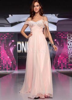 Vestido de noche de seda elástica de color rosado de Línea A de estilo elegante ,
