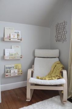 love it all! big pompom blanket, book shelves, abc art piece, fuzzy cushion and rug