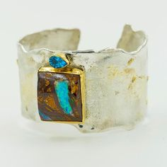 Boulder Opal Cuff Bracelet in Silver and Gold - The Kalled Gallery Sterling Silver Cuff Bracelet, Silver Necklaces, Silver Rings, Ankle Bracelets, Bracelets For Men, Blue Topaz, Wire, Stone, Gold
