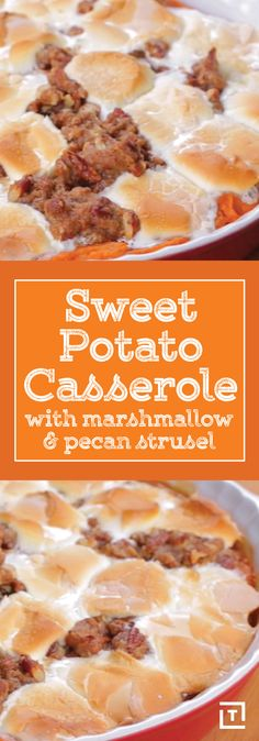 Sweet potatoes: the healthy-ish alternative to the notorious French fry and the staple of any Thanksgiving feast. Why try to complicate a good thing by turning it into a weird toast or gut-busting s'more when you could kick back with a classic? Behold: Twisted's sweet potato casserole with marshmallows and pecan streusel. It's the perfect balance of crunchy and creamy AND sweet and savory. Convenient, right? Check out the video to see how it's done.