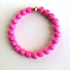 Neon Pink - 8mm Round Wood Beads - Gold Filled Bead on Etsy, $15.00