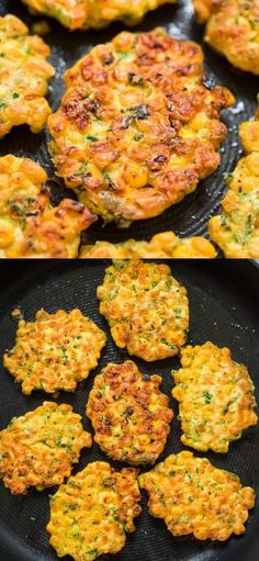 These easy Corn Fritters are sweet, delicate, and filling. They can be prepared with fresh, frozen, or canned corn. Tasty Vegetarian Recipes, Vegetable Recipes, Easy Corn Fritters, Corn Fritter Recipes, Vegetable Dishes, Appetizer Recipes, Appetizers, Lunch Recipes, Clean Eating Snacks