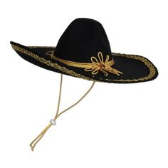 Club Pack of 6 Black with Gold Trim Mexican Fiesta Felt Sombrero Hats