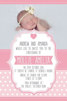 Digital printable Girls pale pink Polka Dots Portrait Christening Baptism invitation
