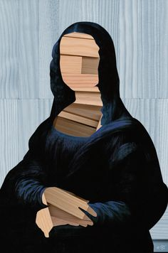Mona Lisa - blue shining WoodCut Collage Art Print  www.society6.com