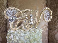 custom triple monogram pearl  cake topper by TheCrystalFlower, $288.00