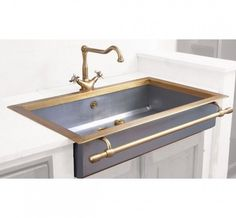 steel and brass farmhouse sink