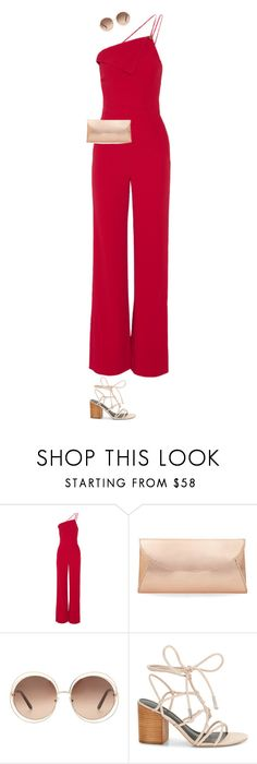 """""""2017: Red Lights"""" by rockerchick21 ❤ liked on Polyvore featuring Cushnie Et Ochs, Steve Madden, Chloé, Rebecca Minkoff, red, clutches, jumpsuits and roundsunglasses"""