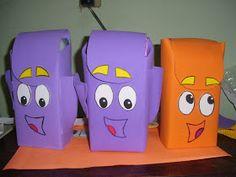 ARTE EM FAMILIA: Passoa a passo da Mochila da Dora Aventureira de caixa de leite longa vida e EVA