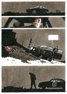 © CHRISTOPHE CHABOUTÉ. Purgatoire (Tome 1, page 61). Vent d'Ouest 2003 Bd Comics, Comic Page, Graphic Novels, Illustrations, Car, Comics, Characters, Automobile, Illustration