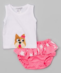 Look at this Victoria Kids White Bulldog Tank & Strawberry Diaper Cover - Infant & Toddler on #zulily today!