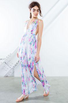Watercolor Strappy Maxi Dress