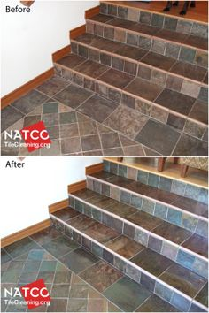 Cleaning, sealing and enhancing slate tile floor and stairs. Slate Flooring, Slate Tiles, Tile Care, Grout Cleaner, Mudroom, Cleaning Hacks, Tile Floor, Sweet Home, Backyard