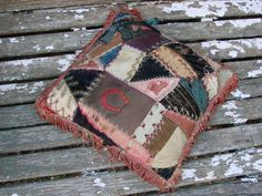 Vintage Victorian Well Loved Crazy Quilt Pillow by thecherrychic