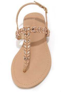Cute Thong Sandals - Nude Sandals - Flat Sandals - $21.00