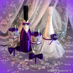"""Купить Свадебный набор бокалов и шампанского """"Жених и невеста"""" - свадебное шампанское, украшение бутылок"""