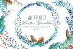 Winter Wreaths Watercolor Cliparts - Illustrations - 1