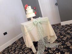 Wedding cake peach and green