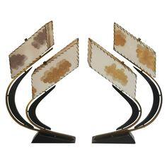 Vtg Pair Mid Century Modern Atomic Age Art Deco Sculptural Table Lamps Retro | eBay