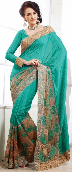 Melodic Blue Net Embroidered Saree-IG5882 at IndianGarb