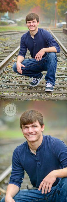 Senior Boy Ideas on the Train Tracks | Pose Inspiration for High School Seniors | Sammamish, WA | Jean Johnson Productions - www.jjshotme.com
