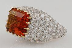 TIFFANY Platinum Topaz Diamond Ring - Yafa Jewelry