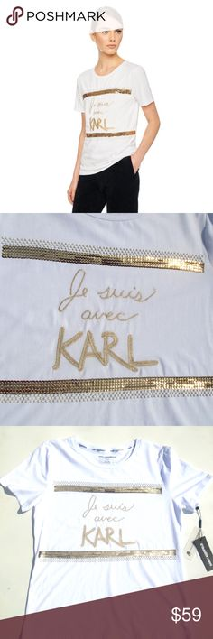 "NWT KARL LAGERFELD PARIS JE SUIS AVEC KARL PEARL T BRAND NEW WITH TAG! ""JE SUIS AVEC KARL"" PEARL & GOLD SEQUIN TEE SHIRT KARL LAGERFELD PARIS COUTURE TEE SHIRT SIZE MEDIUM SUGGESTED SELLER BUY NOW OR BUNDLE & SAVE SAME DAY SHIPPING SHOP WITH CONFIDENCE Karl Lagerfeld Tops Tees - Short Sleeve"