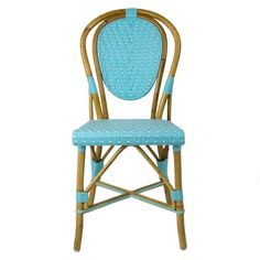 Light Azure Paris Bistro Chair Our most popular chair! These armless rattan-framed dining chairs are part of the iconic French bistros of Le Midi, or the south of France. Hand-woven and artisan crafted, these French style bistro chairs in bright synthetic material, will add a pop of color to your outdoor or indoor space.