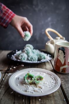 Onde Onde (Klepon) is made of glutinous rice flour and stuffed with Gula Jawa/dark Palm sugar, boiled, then rolled in grated coconut. Perfect as snacks or dessert