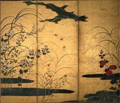 70-5四季草花図屏風