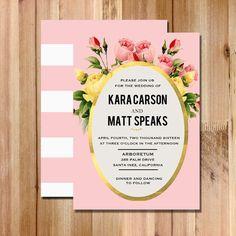 Wedding Invitation Blush Pink Vintage Inspired Botanical Floral Garden Wedding Invitation -  DIY Printable Wedding Invite