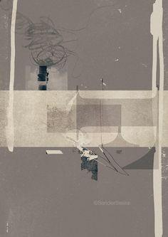 The Big F (30x40cm-12x16inch mixed media print on fine art paper). Sander Steins.