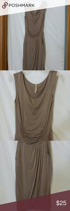 "Solemio women's size medium sheath sundress Barely worn, brown taupe, sleeveless, stretch, two front pockets, cinched above the waist, rayon and spandex, chest 36"", length 37"" solemio Dresses"