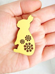 Summer Love Bunny Brooch - Hand Painted Wooden Laser Cut - Lemon on Etsy, $20.00 AUD