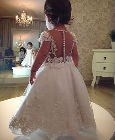 Short-Sleeves A-line Flower Lace Pearls Girl Dress_High Quality Wedding Dresses, Prom Dresses, Evening Dresses, Bridesmaid Dresses, Homecoming Dress - Baby Girl Birthday Dress, Baby Dress, Wedding Dresses For Kids, Wedding Gowns, Couture Dresses, 15 Dresses, Evening Dresses, Little Girl Dresses, Flower Girl Dresses